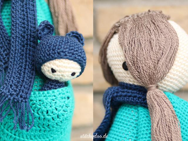 Kira, das Känguru von lalylala mit Haaren | Wie lange häkelt man wohl an einer solchen Puppe?