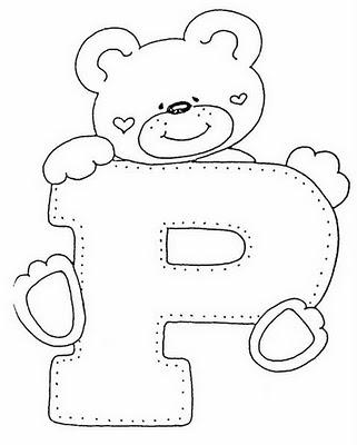 Abecederio de Osito corazon para colorear letra P ~ 4 Dibujo