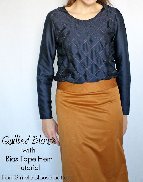 Simple Blouse Variation: Quilted with Bias Tape Hem