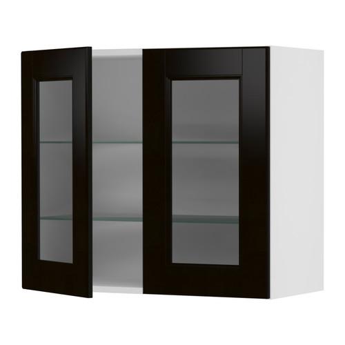 Smoked glass door cabinet black kitchen kitchens andrine for Black kitchen cabinets with glass doors