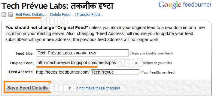 Update Original Feed Address in Feedburner
