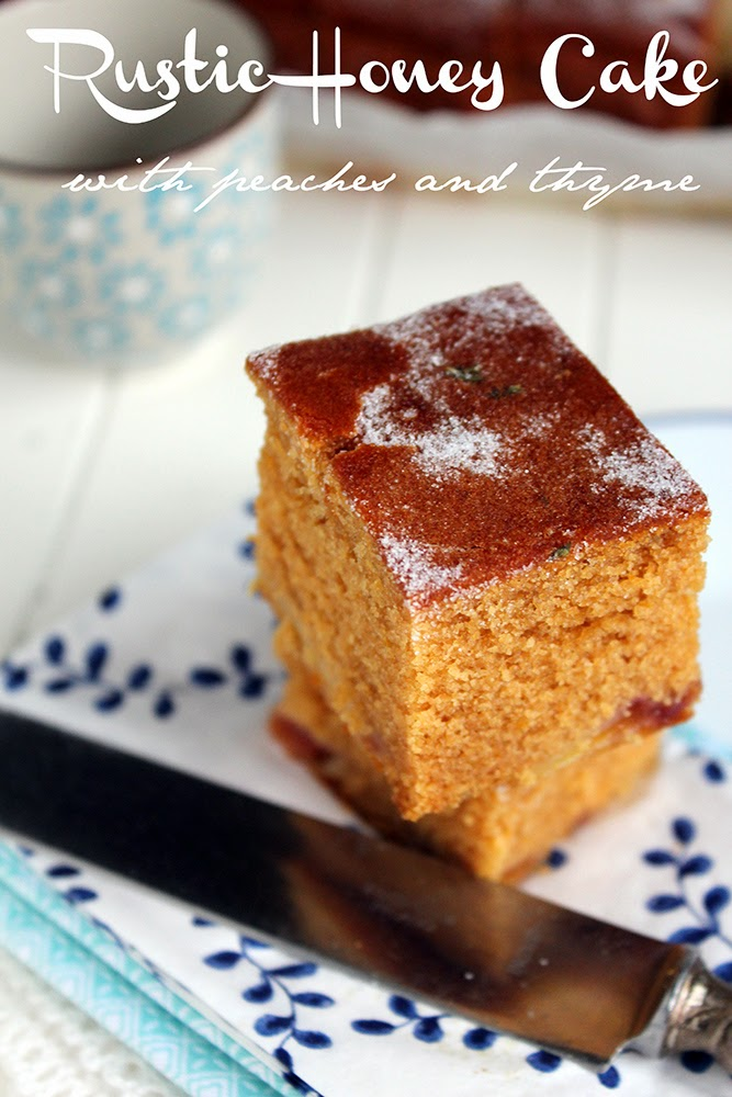 rustic honey cake with peaches and thyme