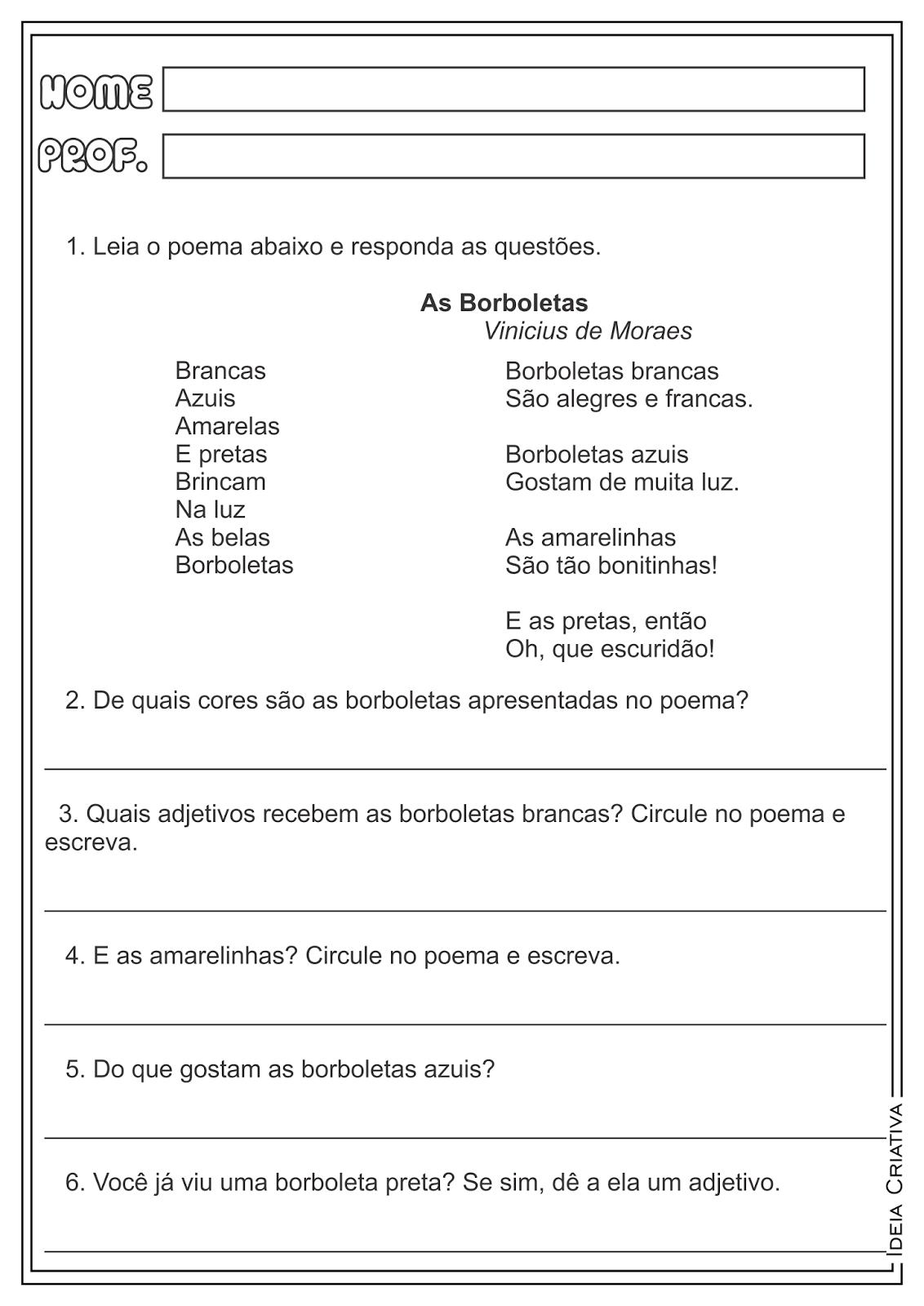 Atividades Interpretação de Texto Poema Vinicius de Moraes para Ensino Fundamental