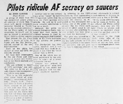 Pilots Ridicule AF Secrecy On Saucers Newark Star-Ledger 12-22-1958