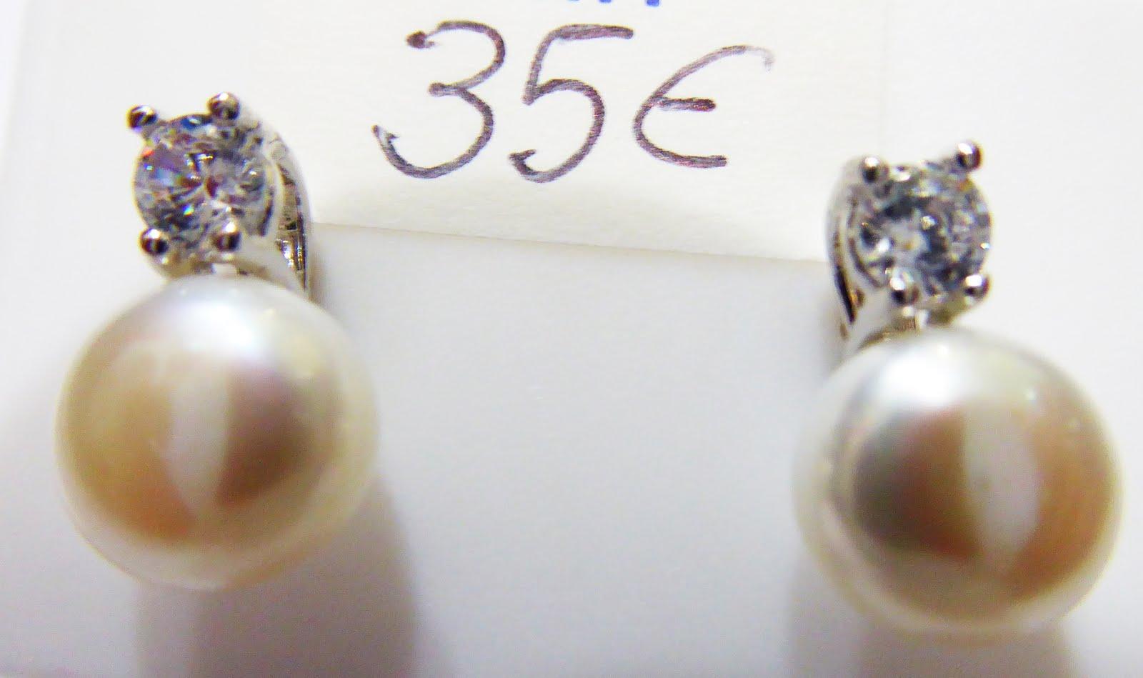 Pendientes de plata perla natural con circonita