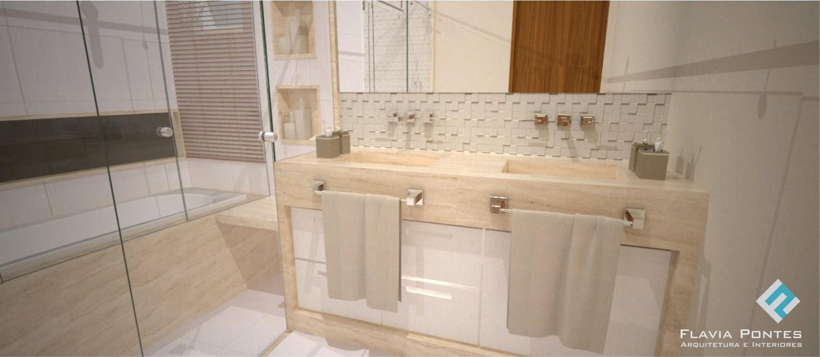 Flavia Pontes Arquitetura -> Revestimento De Banheiro Com Banheira