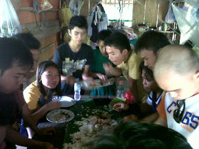 Backpackers enjoy the foods. Time to recharge our energies.