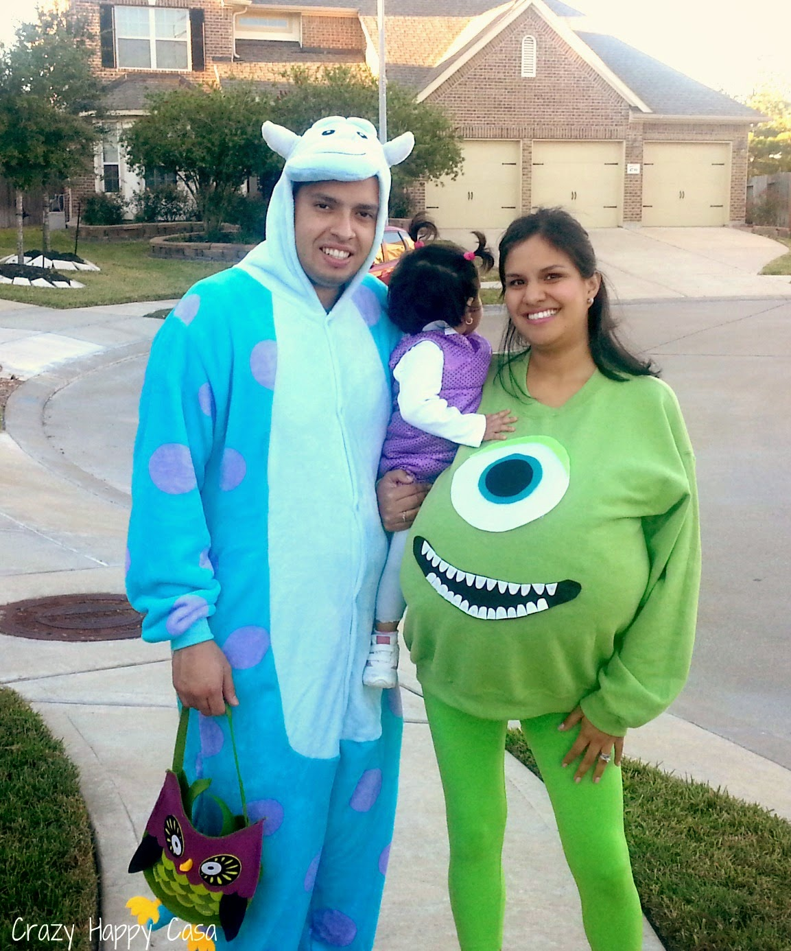 i decided to skip the trouble of making a sulley costume and just bought a sulley cosplay pajama on ebay for hubby it worked perfectly - Monsters Inc Baby Halloween Costumes