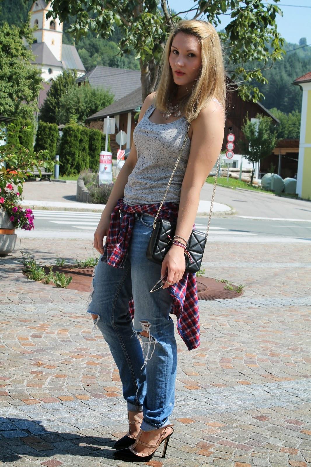 Fashionblogger Austria / Österreich / Deutsch / German / Kärnten / Carinthia / Klagenfurt / Köttmannsdorf / Spring Look / Classy / Edgy / Summer / Summer Style 2014 / Summer Look / Fashionista Look /  Boyfriend Jeans / valentino Studded Heels / Zara / H&M / Tommy Hilfiger / Ray Ban Aviator /