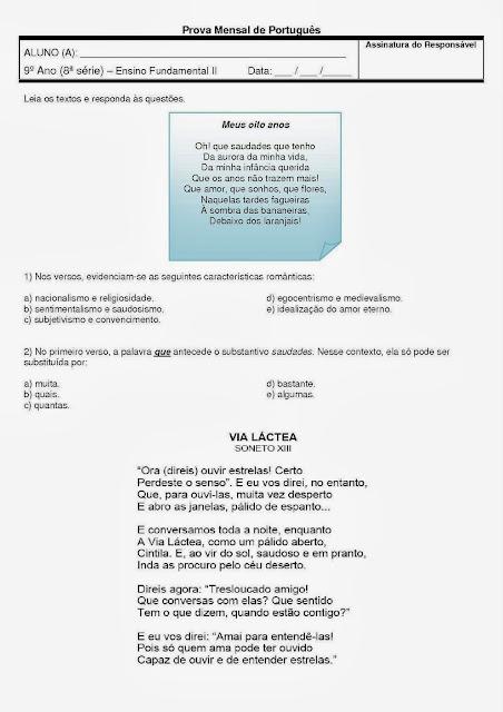 Prova de português 9° ano (8° SÉRIE) com gabarito