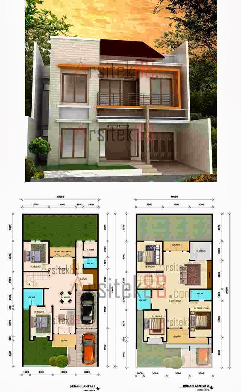 Contoh Desain Denah Rumah Minimalis 2 Lantai Sketsa Arsitektur Modern
