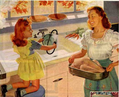 Vintage mom & daughter preparing turkey