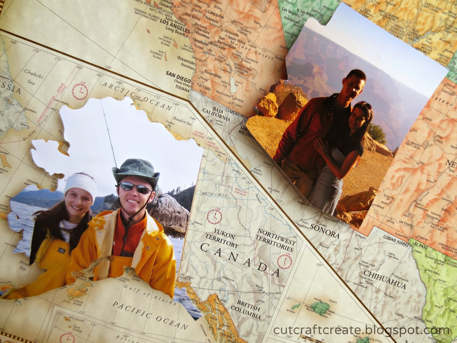 Cut Craft Create Personalized Photo Map for our Paper Anniversary – Places Traveled Map