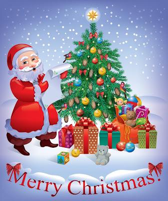 Arbolito de Navidad con Santa Claus, adornos y regalos