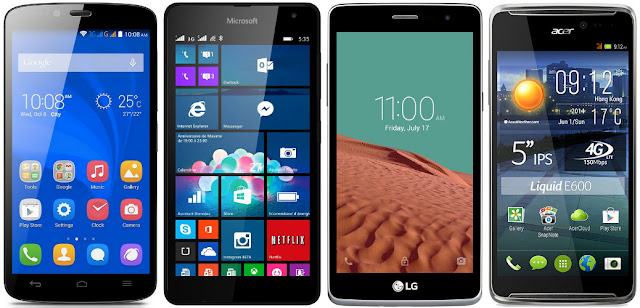 Comparativa de los mejores móviles de 5,0 pulgadas de unos 100 euros