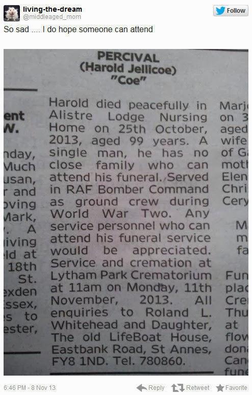 funeral Harold Jellicoe Percival veterano guerra mundial