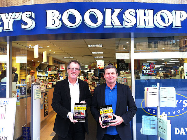 Steve Lewis and Chris Uhlmann at Abbey's signing their new political thriller, The Marmalade Files