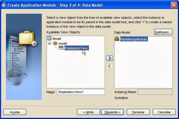 seleccion ViewObject para Appication Module