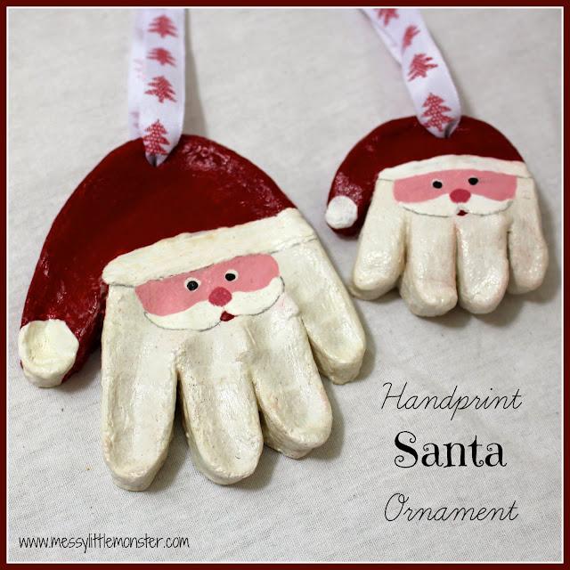 Santa Handprint Ornament using Salt Dough