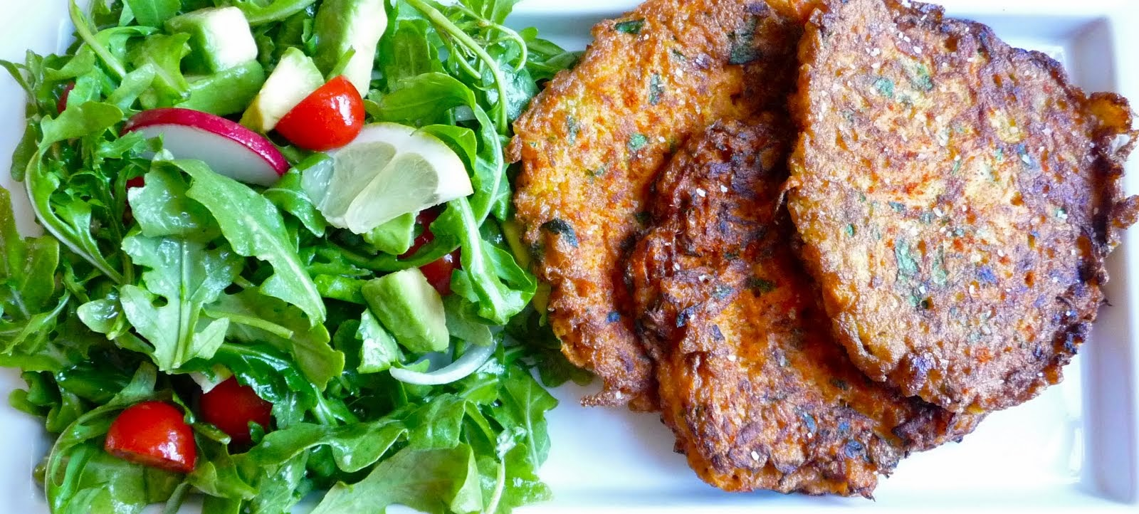 Delicious Carrot Pancakes with a Lemony Arugula Salad