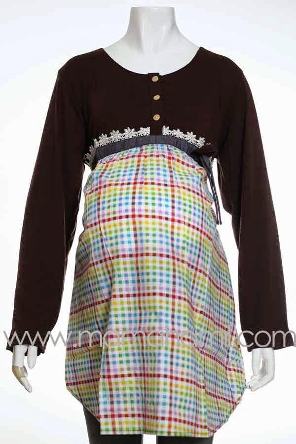 Model Baju Hamil Muslim Modern Kombinasi Kotak