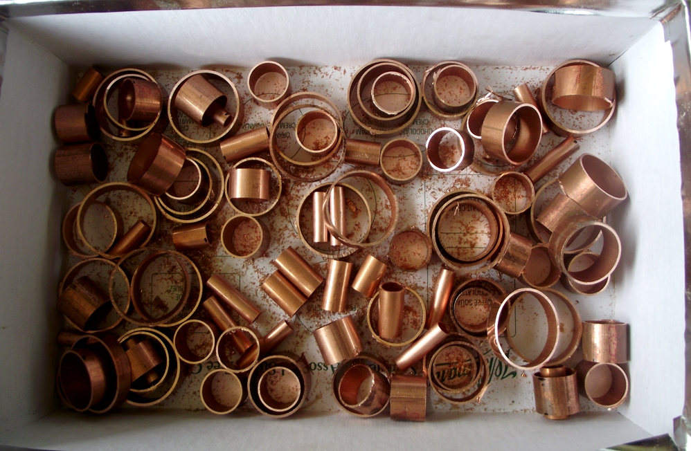I can cut those myself since the copper is soft and easy to cut. If you  stick around reading this post, I'll show you how to make your own little  tubes.