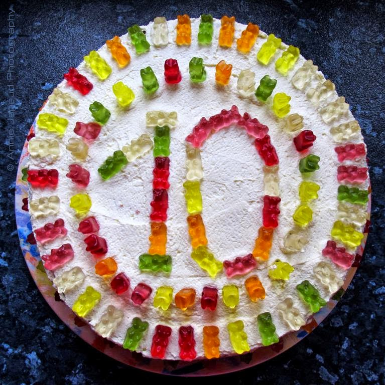 birthday cake with jelly bears