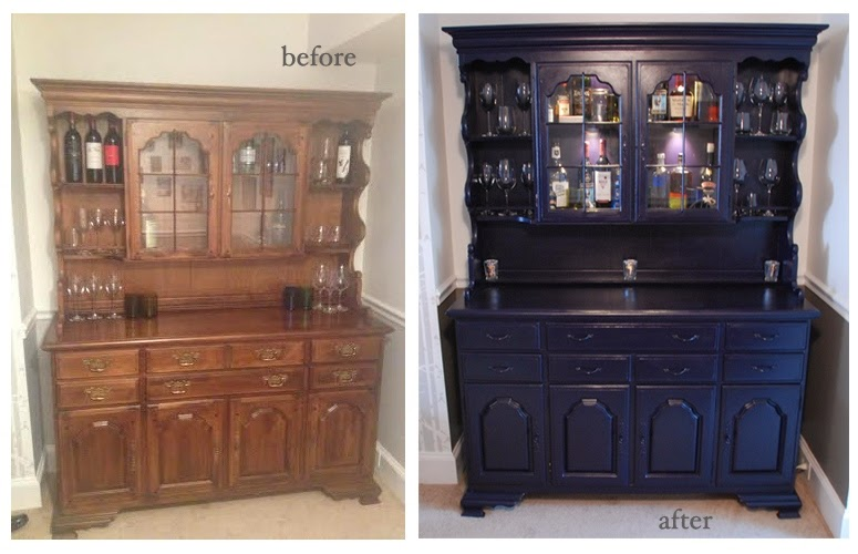 Saint Rooster Navy Black Chalk Painted Hutch Turned Bar