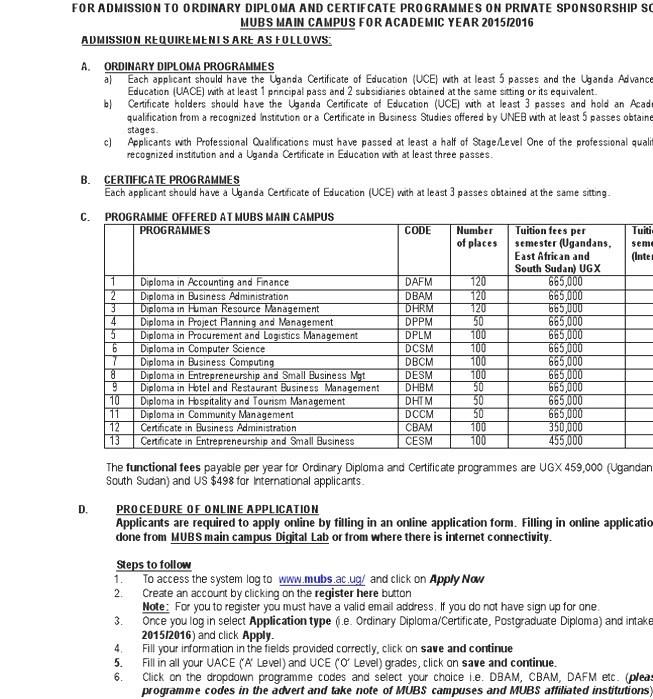 Makerere University Business School Business School Courses