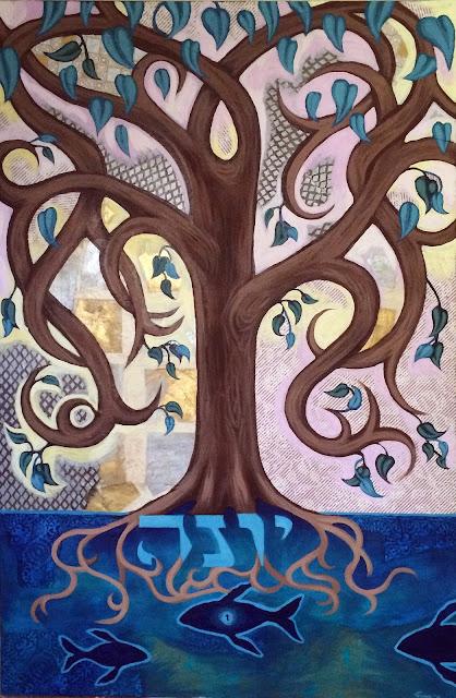 bar mitzvah gift, tree of life, tree of life art, story of jonah, Yonah, Jewish art, Portland artist, portland murals