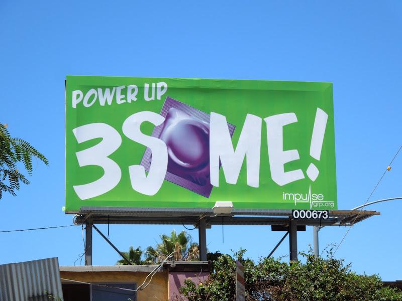 Power Up 3Some condom billboard