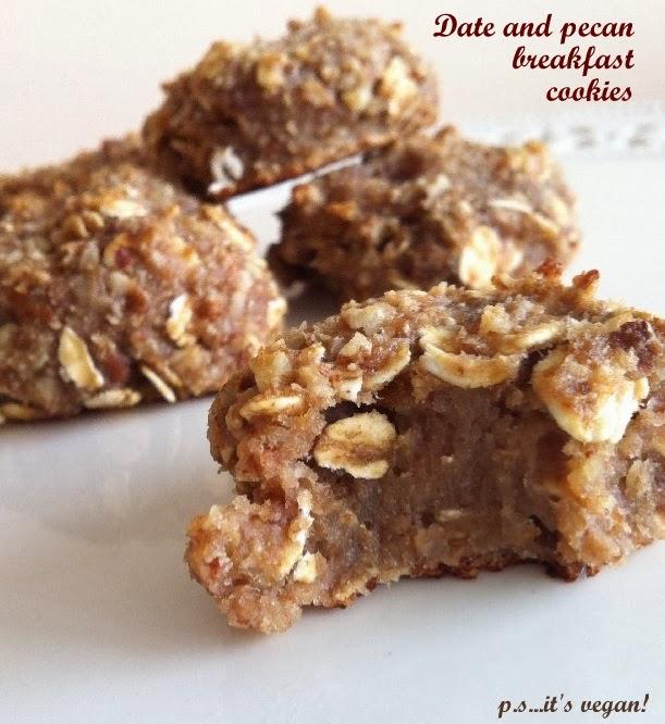 Soft date and pecan vegan cookies