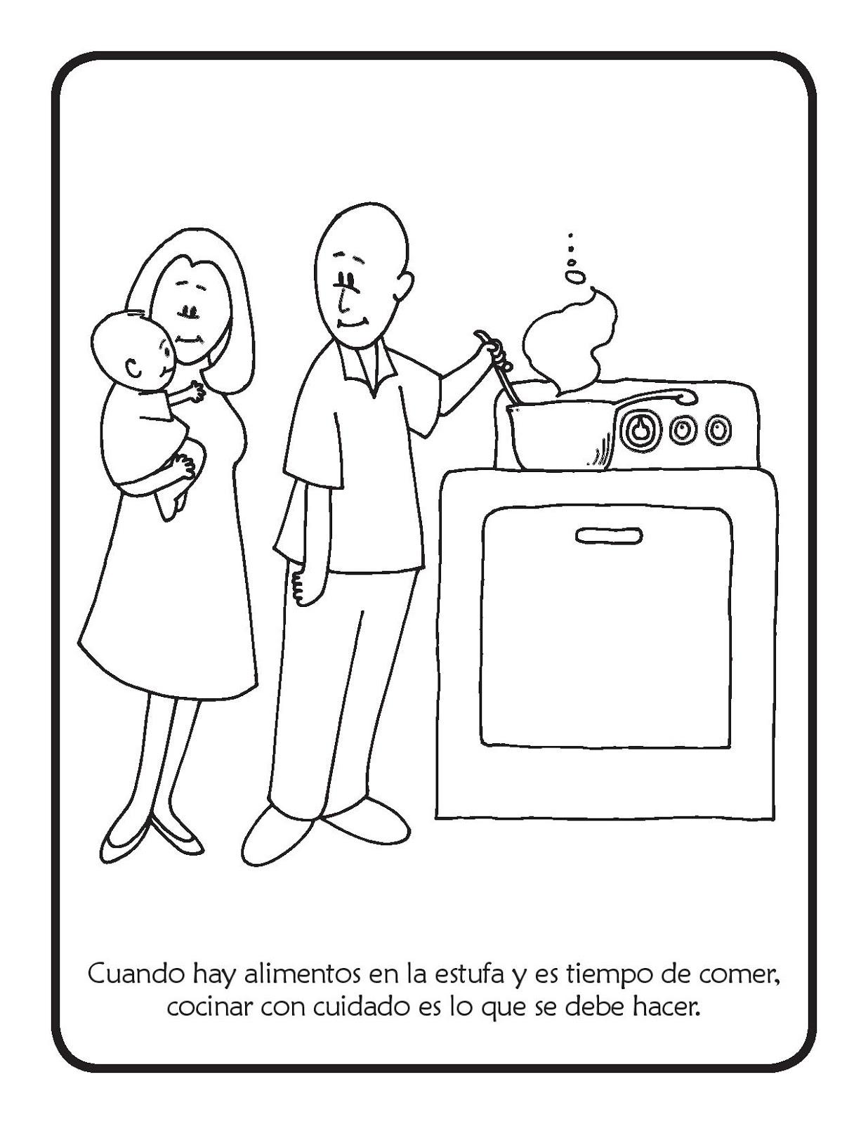 Cuidados en la cocina para colorear