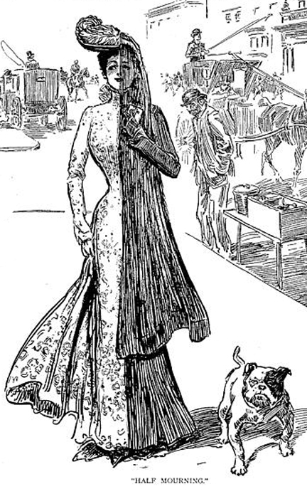 Gibson Girl, a merry widow in half-mourning, title=