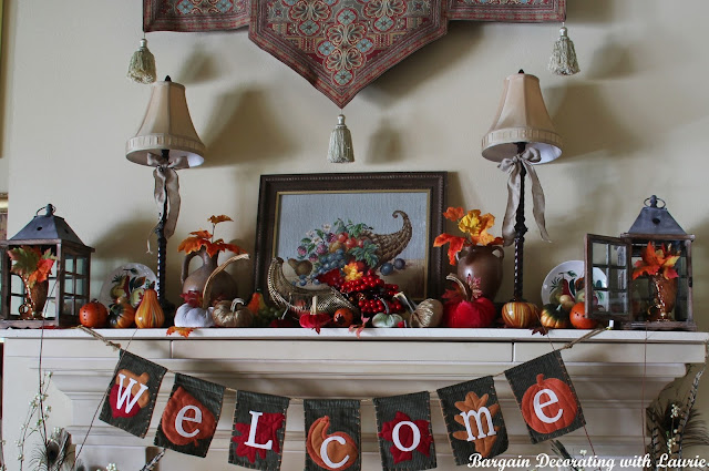 Thanksgiving Mantel-Bargain Decorating with Laurie