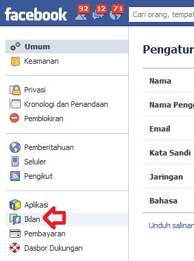klik menu PENGATURAN IKLAN facebook pada sidebar