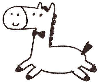 馬のイラスト「可愛くジャンプ」 線画