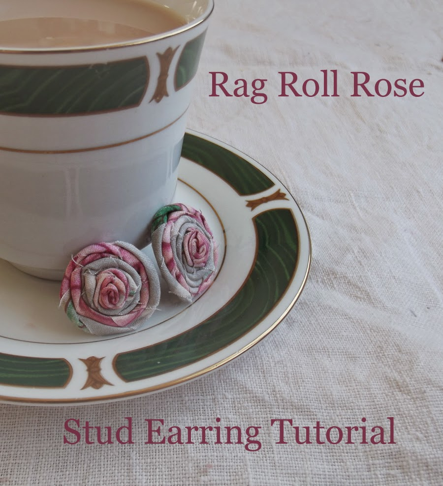 shabby chic Rag Rolled Rose Stud Earring Tutorial