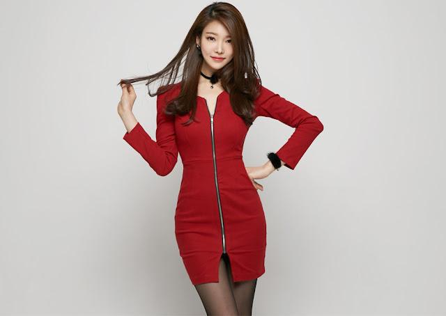 4 Jung Yun - Red Dress - very cute asian girl-girlcute4u.blogspot.com