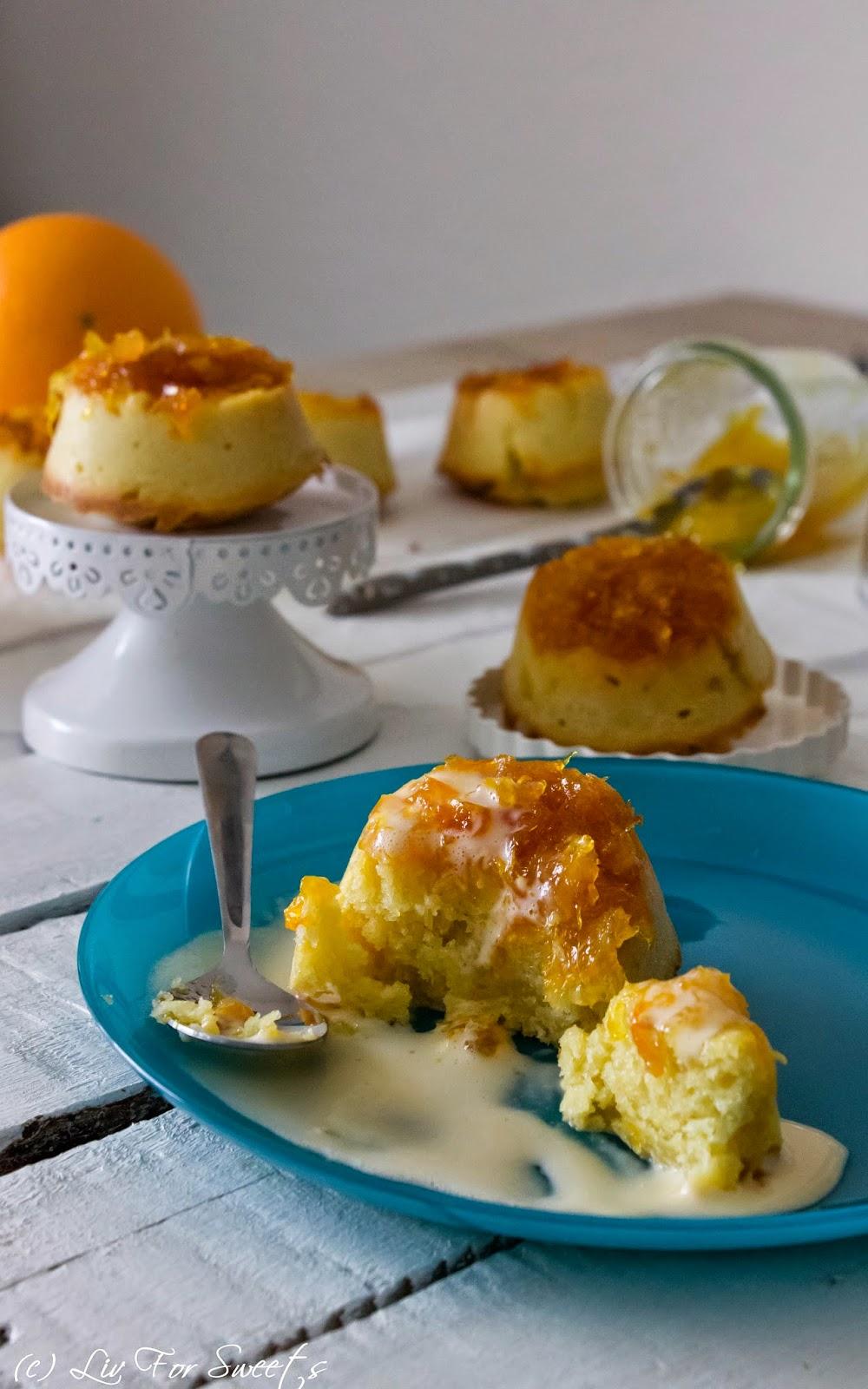 Rezept für Muffins mit Orangenkompott und Vanillesoße, Orangen, Orangenmarmelade, Lecker Bakery, Thermomix