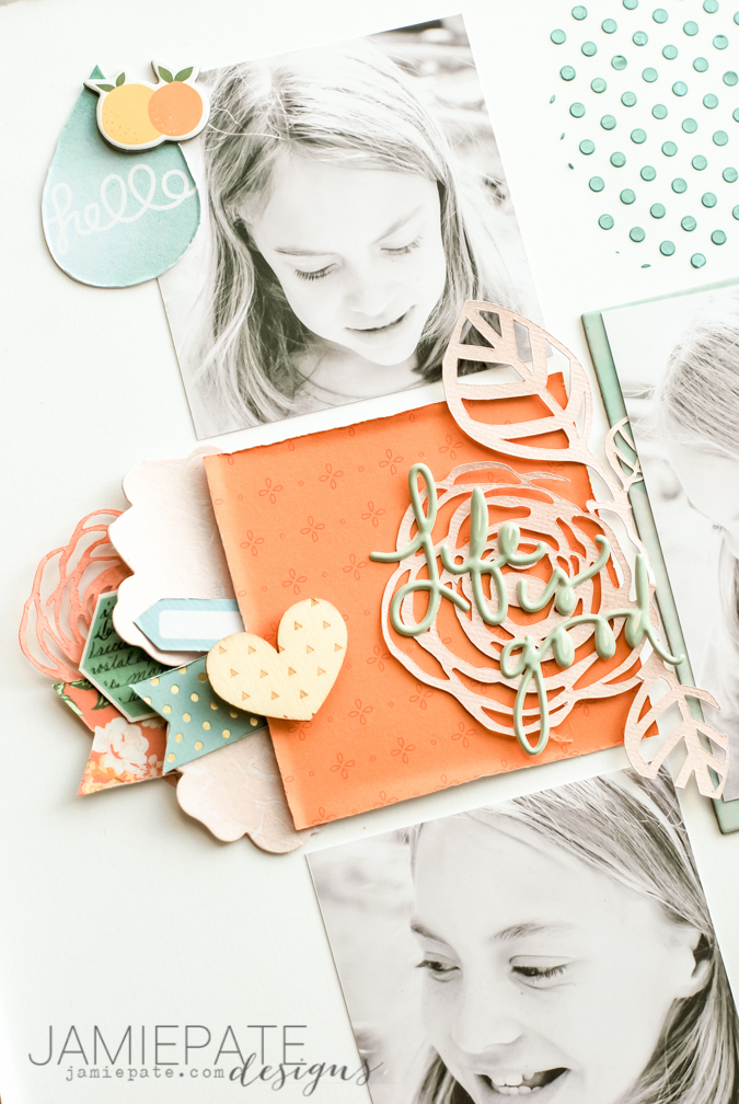 Jot Magazine July Mood Board | Citrus and turquoise and green found on a scrapbook layout inspiration. @jamiepate for @jotmagazine