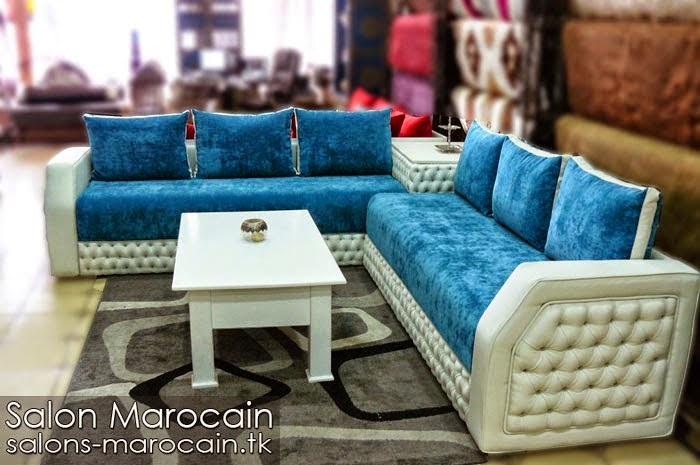 Salon marocain moderne bleu blanc 2014