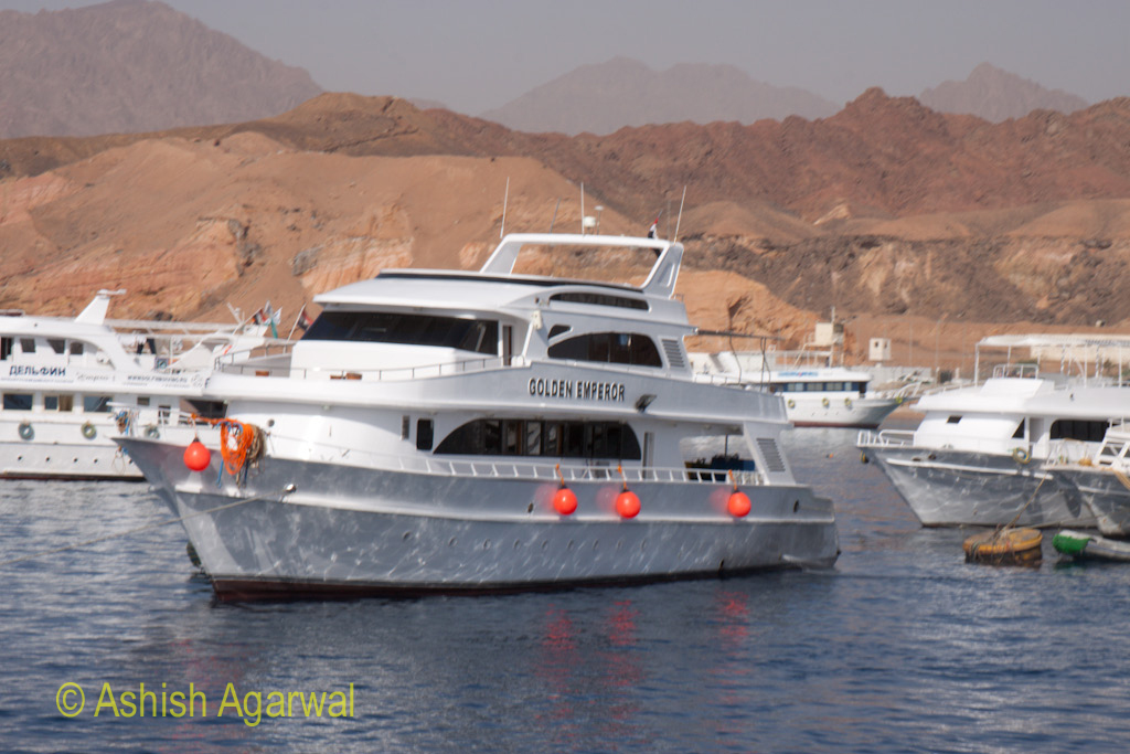 Cruise ship with floats on the side at Sharm el Sheikh on the Red Sea in Egypt
