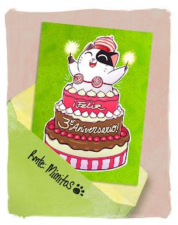 tarjeta felicitación de mimitos tercer aniversario ediciones babylon