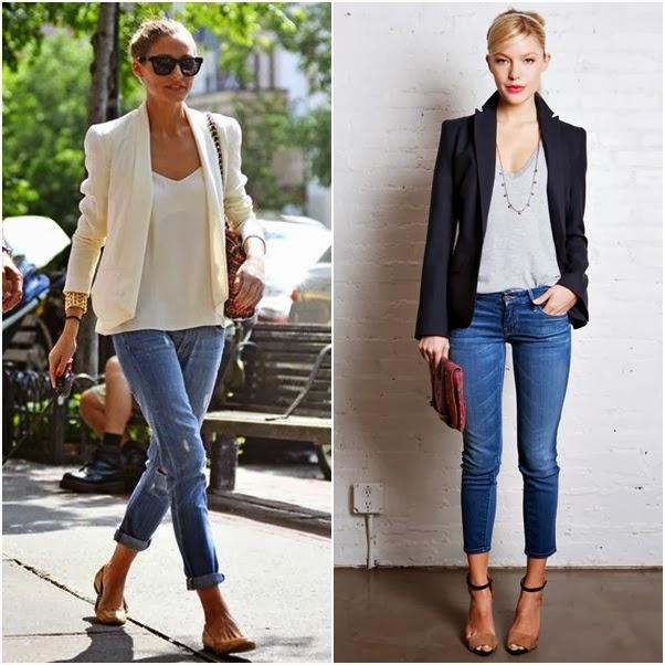 Looks com Blazer Dica Como Usar Branco Preto Básico Olivia Palermo Jeans