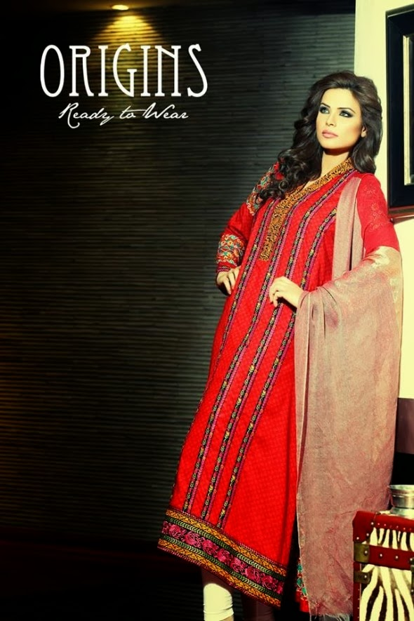 Latest And Stylish Ready To Wear Winter Dresses Collection 2014 For Women And Girls By Origins