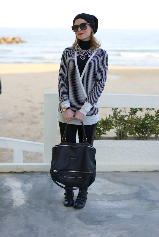 striped sweater,Ash sneakers, Givenchy bag