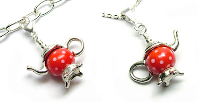 Lampwork glass teapot charm and pendant