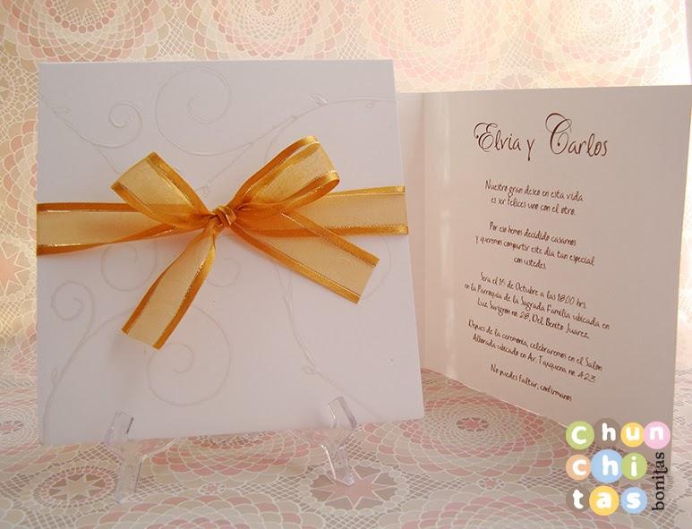Chunchitas bonitas Invitaciones para boda bonitas y elegantes