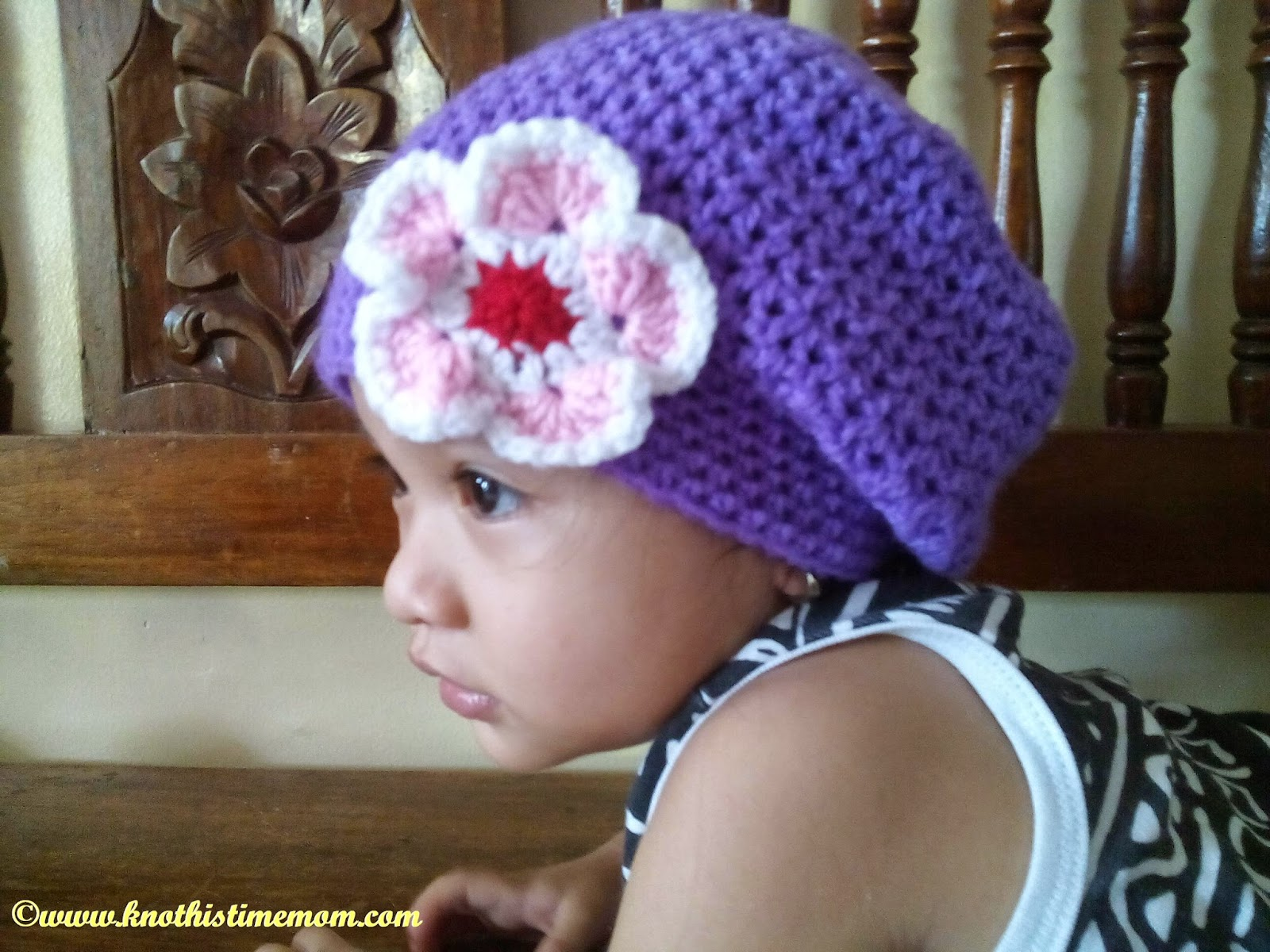 toddler's slouchie beanie with flower applique